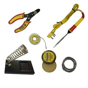 Picture of 6 in1 Electric Soldering Iron Stand Tool Wire Stripper Kit 25 Watt Welding Stick Set